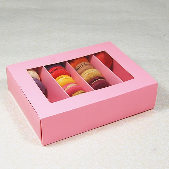 24 Pink Macaron Window Boxes by Cheerico