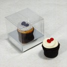 1 Cupcake Clear Mini Cupcake Boxes w Silver insert($1.00pc x 25 units)