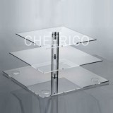 3 Tier Large Square Pole Cupcake Stand - Acrylic Feet included